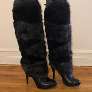 Guess black multi leather fur boots